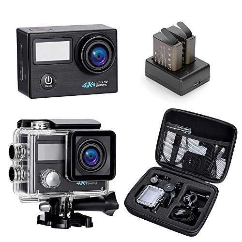 Darkeep 4K Action Camera 2.0 Inch Touch Screen 170 Degree Ultra-Wide Fisheye Lens Android IOS App Wifi Sports DV TV Out with USB 2.0 Waterproof Case by Darkeep