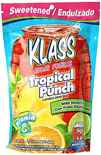 Klass Tropical Punch Flavored Drink Mix with Dried Fruit (Pack of 18)