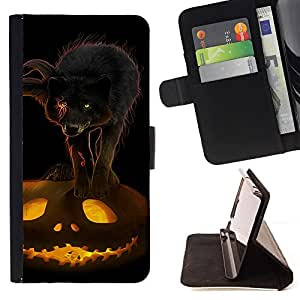 - Cat Pumpkin Halloween Scary - Estilo PU billetera de cuero del soporte del tir???¡¯???3n [solapa de cierre] Cubierta- For Apple Iphone 5 / 5S ( Devil Case )
