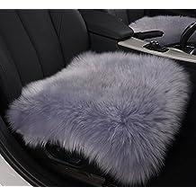 HAOCOO 18 Inch Luxurious Sheepskin Long Wool Car Seat Covers Chair Pad (1 seat cover) (Grey)