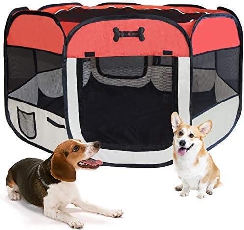 MC Star Portátil Parque Corral Oxford Cachorro Animales para Perros, Gatos, Conejos y Pequeño Animales, 125 x 125 x 64 cm (Rojo)