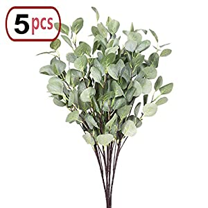 "Artificial Plants Greenery 5pcs 35""/Piece Straight Silver Dollar Eucalyptus Leaf Stems Silk Greenery Bushes Fake Plants Flowers Floral for Home Party Wedding Decor 6"