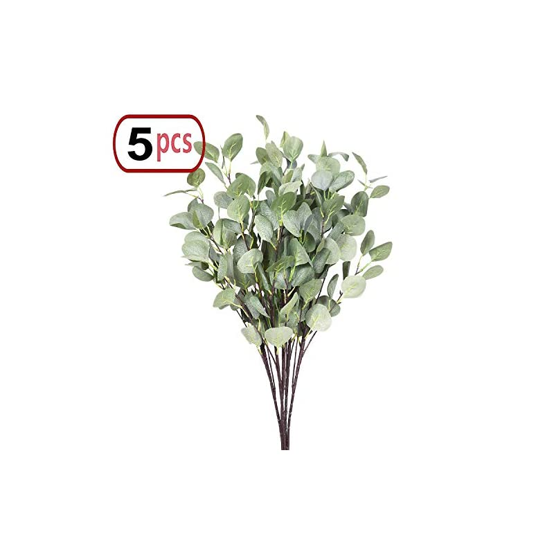 "silk flower arrangements artificial plants greenery 5pcs 35""/piece straight silver dollar eucalyptus leaf stems silk greenery bushes fake plants flowers floral for home party wedding decor"