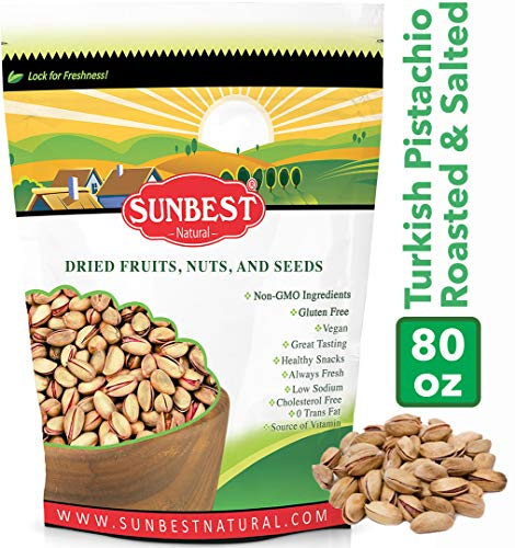 SUNBEST TURKISH PISTACHIOS ANTEP ROASTED AND SALTED IN RESEALABLE BAG (5 Lb)