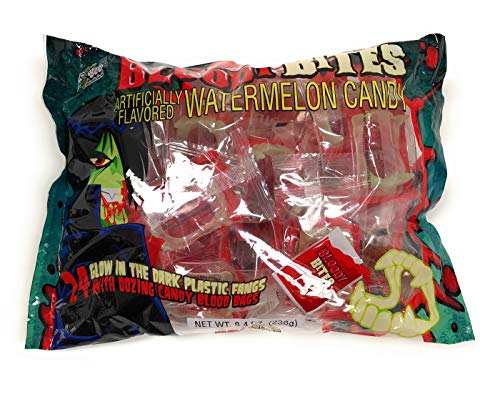 Bloody Bites Watermelon Candy 24 Pack Glow in the Dark Fangs -