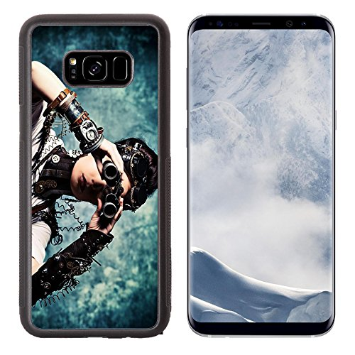 Liili Premium Samsung Galaxy S8 Plus Aluminum Backplate Bumper Snap Case IMAGE ID: 21135825 Portrait of a beautiful steampunk woman looking through the binoculars over grunge - Review Eyewear Fashion