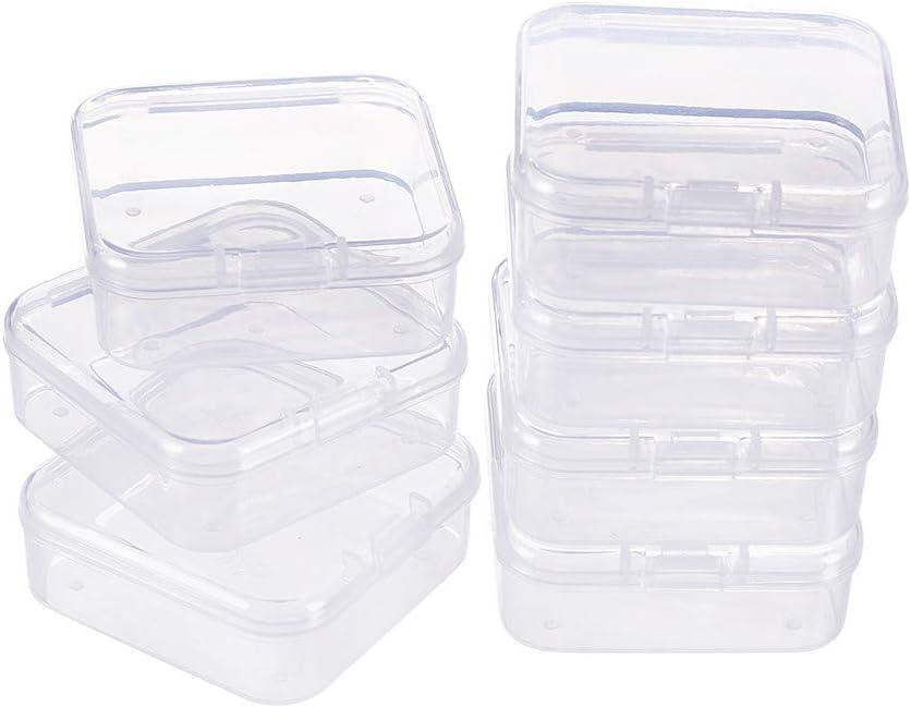 BENECREAT 18 Pack Caja de Contenedores de Almacenamiento de Plástico Transparente con Tapas Abatibles para Pastillas Hierbas Cuentas Pequeñas Joyería