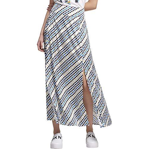 DKNY Womens Pattern Split Hem Maxi Skirt Ivory 12 Dkny Jeans Womens Skirt