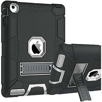 iPad 4 Case, iPad 2 Case, iPad 3 Case, BENTOBEN Kickstand Heavy Duty Full-body Rugged Shockproof 3 in 1 Soft Silicone Hard PC Anti-slip Protective Case for Apple iPad 2/3/4 Retina,Black/Gray