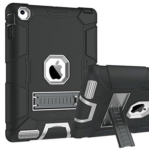 iPad 2 Case, iPad 3 Case, iPad 4 Case, BENTOBEN Kickstand Heavy Duty Rugged Shockproof High Impact Resistant Hybrid Three Layer Armor Full Body Protective Case for Apple iPad 2/3/4th Gen,Black/Gray (Touch Screen Games For 2 Year Olds)