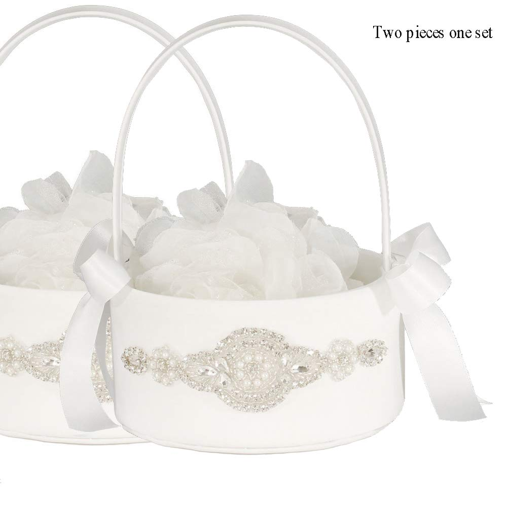 LAPUDA Two Pieces one Set, Flower Basket Series-Wedding Flower Basket, Flower Girl' Basket, Rhinestone Flower Basket Style HL0249 (White)