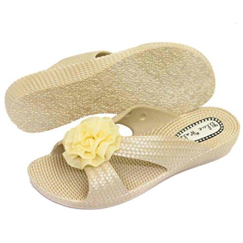 HeelzSoHigh Damen Flach Beige Zum Reinschlüpfen Sandalen Strandurlaub Slider Maultier Gelee Keilabsatz Schuhe Größen 3-8