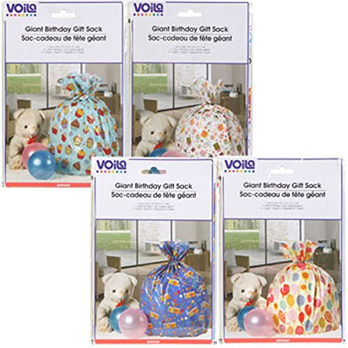 Giant Birthday/Celebrations Gift Bags, 36x44'' Giant Gift Sacks Bags - Great BIG gift bags for great BIG presents! Set of 4 - Assorted Styles by Voila