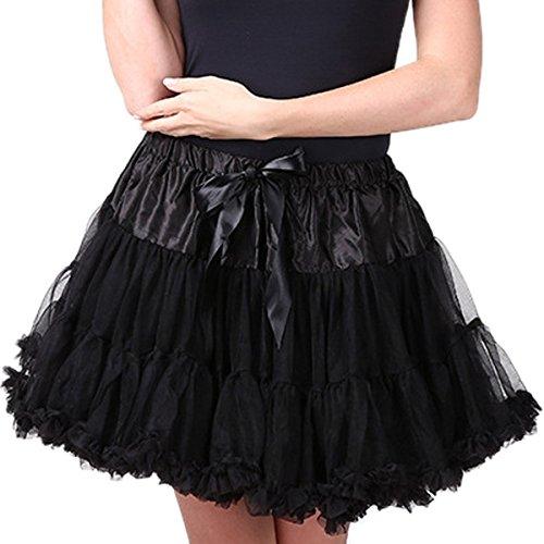 FEOYA Adulto Mujeres Princesa Danza Mini Falda de Doble Capas de Gasa Tutú Enagua Disfraz Pettiskirt Negro