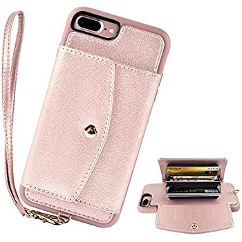 """iPhone 8 Plus Case Wallet, iPhone 7 Plus Wallet Case, LAMEEKU iPhone 8 Plus Leather Case with Credit Card Slot Wrist Strap, Shockproof TPU Bumper Cover for iPhone 7 Plus/8 Plus 5.5"""" - Rose Gold"""