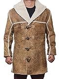 fjackets Mens bohannon Brown Shearling Travel Wear Long Suede Leather Coat - 3XL
