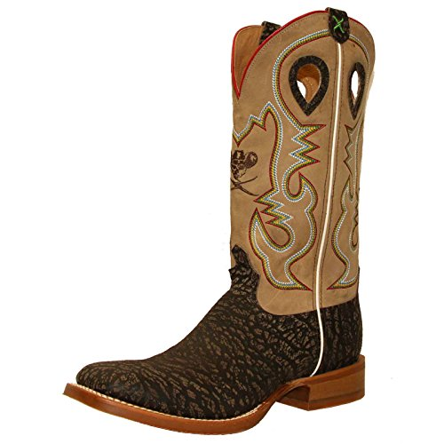 Twisted X Men's Ruff Stock Cowboy Boot Square Toe Taupe 10.5 D