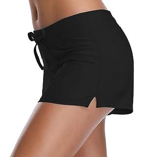 ca092863a08 Obosoyo Women's Wide Waistband Boardshorts Swimsuit Bottom Shorts Swimming  Panty