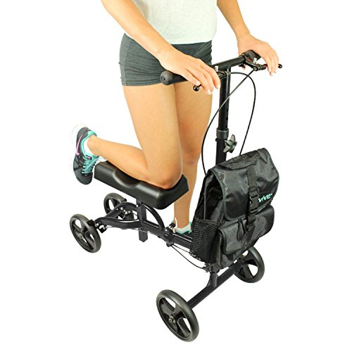 Knee Scooter by Vive [Bag Included] - Steerable Knee Walker for Broken Leg & Foot - Medical Alternative to Crutches - Kneeling Roller Cart w/ Pad for Senior & Elderly (Kneeling Leg)