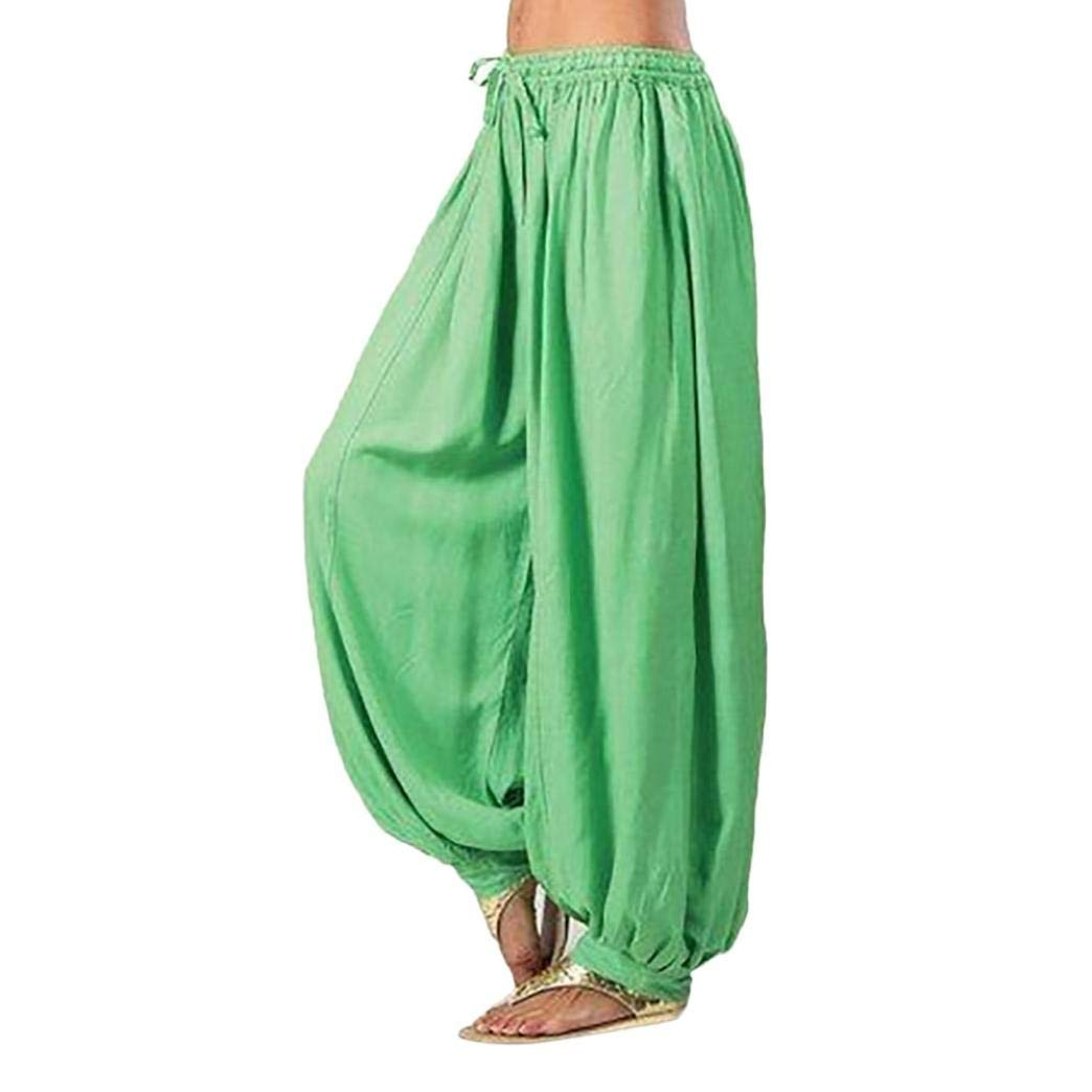 Pants For Women, Clearance Sale! Pervobs Women Loose Elastic Waist Harem Pants Yoga Bloomers Pants Trousers(M, Green)