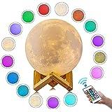 Luminaria Lua Cheia 3D tam 15 cm 4 cores e suporte em madeira