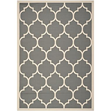 Safavieh Courtyard Collection CY6914-246 Anthracite and Beige Indoor/ Outdoor Area Rug, 6 feet 7 inches by 9 feet 6 inches (6'7  x 9'6 )