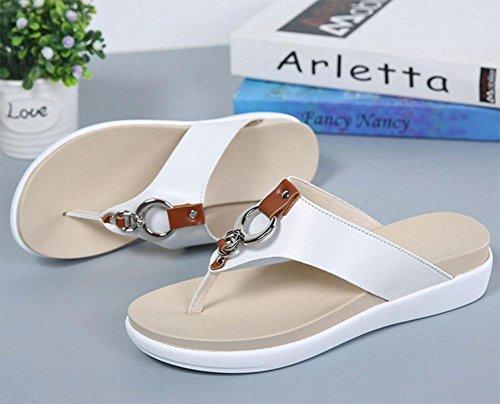 zapatillas de fondo grueso correa de las mujeres zapatos de las sandalias salvajes White