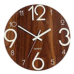 Genbaly Luminous Wall Clock, 12 Inch Wooden Silent Non-Ticking Kitchen Wall Clocks with Night Lights for Indoor/Outdoor Living Room Bedroom Decor Battery Operated (Walnut Color)