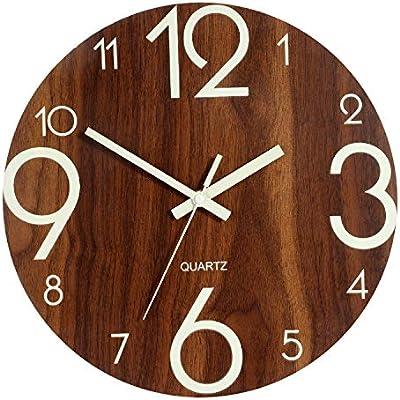 Luminous Wall Clock 12 Inch Wooden Silent Non Ticking Clocks With Night Light