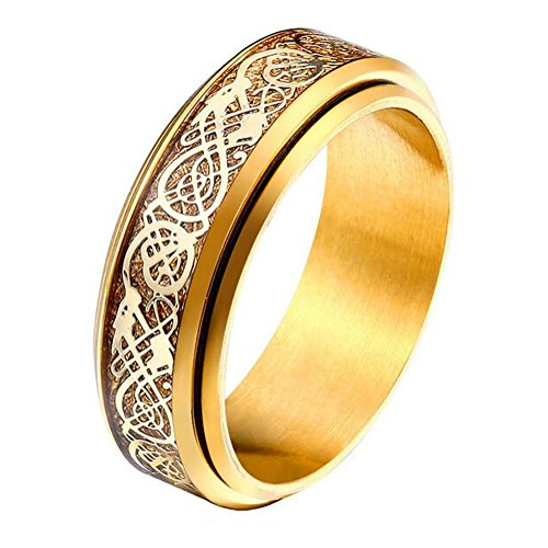 UNAPHYO Men's Celtic Dragon Golden Carbon Fibre Inaly Stainless Steel Gold Plated Spinning Ring Wedding Band Size 12