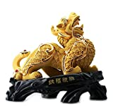 Wenmily Large Size Family-protecting Feng Shui Golden Pi Yao/Pi Xiu Statue,Gift for Business or Store Opening,Feng Shui Decor