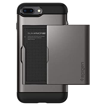 spigen Funda iPhone 7 Plus, [Slim Armor CS] Card Holder [Gunmetal]