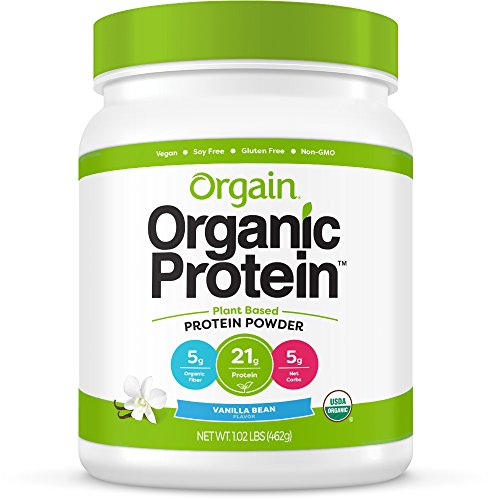 Orgain Organic Plant Based Protein Powder, Vanilla Bean - Vegan, Low Net Carbs, Non Dairy, Gluten Free, Lactose Free, No Sugar Added, Soy Free, Kosher, Non-GMO, 1.02 Pound