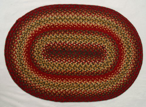 Jute Braided Rug 4' x 6'/Oval/Red