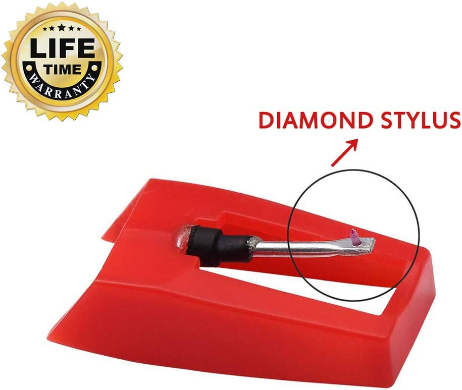 2 PCS Record Player Needle Turntable Diamond Replacement Stylus Needles for Power Play LP ION iCT09RS Quick Play LP Forever LP Quick Play Flash Vertical Vinyl Archive LP Phonograph