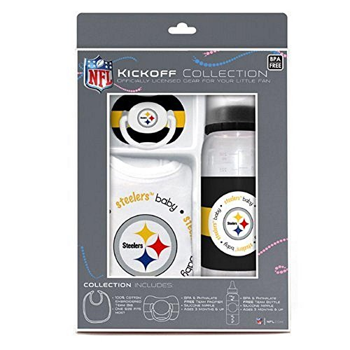NFL Licensed Baby Fanatic Kick Off Collection 3-Piece Feeding Set (Pittsburgh (Pittsburgh Steelers Baby Bottles)