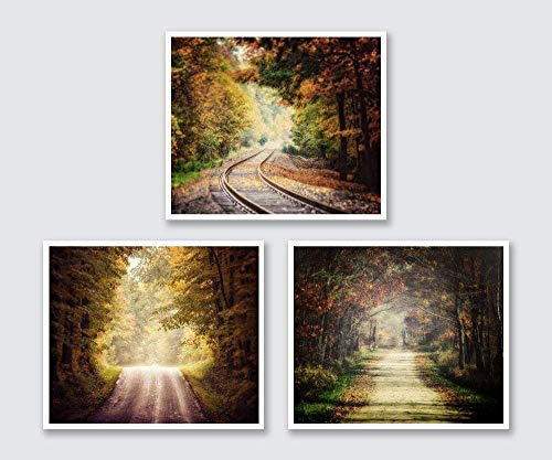 (Fall Decor, Autumn Wall Art Landscape Set of 3 Unframed Prints. Country Roads, Railroad. Living Room Decor. 5x7, 8x10, 11x14, or 16x20.)
