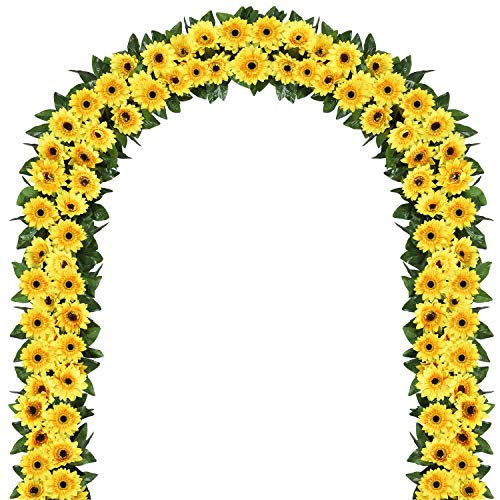 2 Pack Artificial Sunflower Garland Silk Sunflower Vine Artificial Flowers with Green Leaves Wedding Table Decor]()