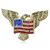 Golden Tone American Eagle Rhinestone USA Flag Brooch Pin - Lovely American Patriotic Jewelry