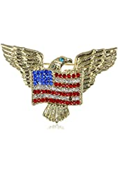Gold Tone American Eagle Rhinestone USA Flag Brooch Pin - Lovely American Patriotic Costume Jewelry