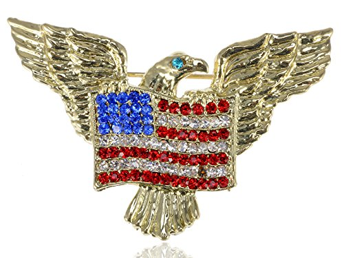 Golden Tone American Eagle Rhinestone USA Flag Brooch Pin - Lovely American Patriotic Costume Jewelry