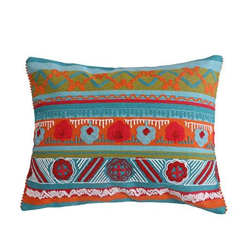Pillow Cotton Crewel - Levtex Mirage Crewel Multi Poms Pillow