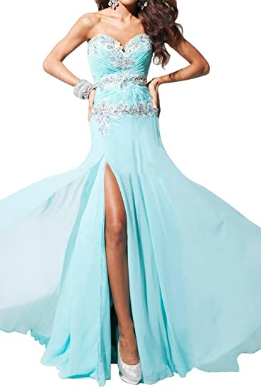 Gorgeous Bride Sexy Long Sweetheart Chiffon Party Dress Junior Prom Dress-UK Size 6-