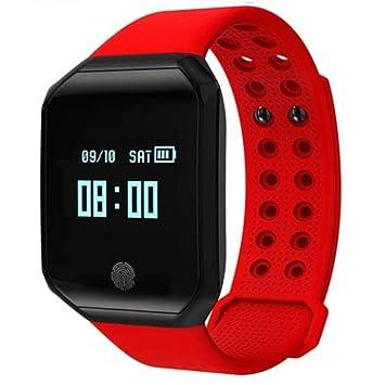 WULIFANG Moda Hombres Reloj Digital Deportivo Reloj De Pulso De Presión Arterial Frecuencia Cardíaca Fitness Tracker Pulsera Inteligente Impermeable Rojo: ...