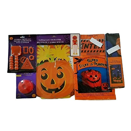 Decorate Your Door and Lawn with Carved Pumpkins, Jack-o-Lanterns, Scary Ghosts, Goblings Halloween Pumpkins, Lawn Bags, DO NOT ENTER Tape Bundle