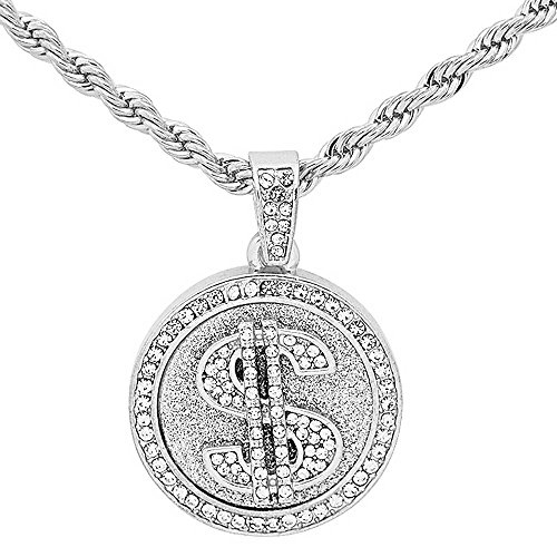 White Gold-Tone Iced Out Hip Hop Bling Player Style Dollar Sign Medallion with 24
