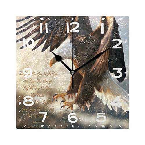 Naanle Bald Eagle Religious Painting Print Square Wall Clock Decorative, 8 Inch Battery Operated Quartz Analog Quiet Desk Clock for Home,Office,School