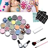 Coohole 24 Colors Powder Temporary Shimmer Glitter Bling Tattoo Kit for Body Art Fashion Design (Multicolor)