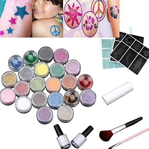 Price comparison product image Coohole 24 Colors Powder Temporary Shimmer Glitter Bling Tattoo Kit for Body Art Fashion Design (Multicolor)