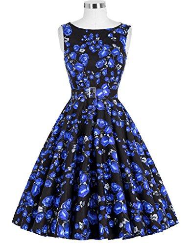 bp02 Floral 20 Poque® Belle Años Vestidos Cócteles Swing nbsp;Fiesta de Mujeres De Vintage 50 ZwfRPq